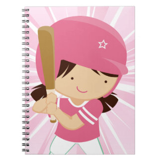 Softball Girl Batter in Pink and White Notebooks