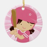Softball Girl Batter in Pink and White Ornament