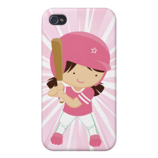 Softball Girl Ber in Pink and White iPhone 4/4S Covers