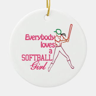 Softball Girl Christmas Ornament