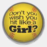 softball-girls classic round sticker