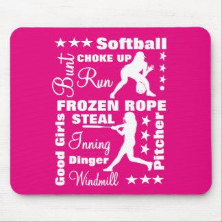Softball Girls Sports Terminoligy Words Typography Mouse Mat