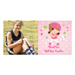Softball Girly Thank You Personalised Photo Greeting Card