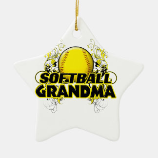 Softball Grandma (cross).png Ceramic Star Decoration