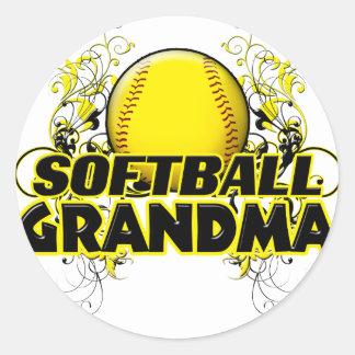Softball Grandma (cross).png Classic Round Sticker