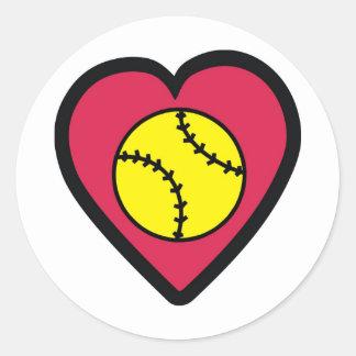 Softball Heart Classic Round Sticker