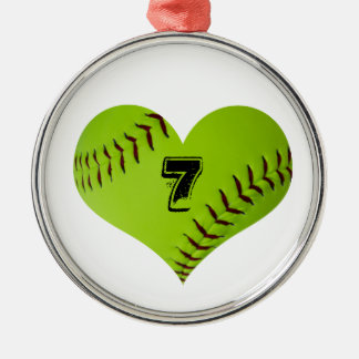 Softball heart ornament