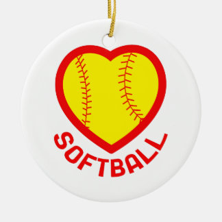 SOFTBALL HEART ROUND CERAMIC DECORATION
