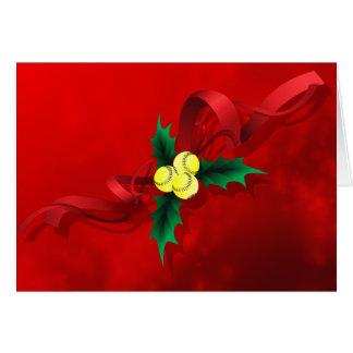 Softball Holly Christmas Card