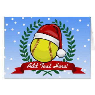 Softball In A Santa Hat Christmas Style Card