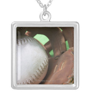 Softball in catcher's glove silver plated necklace