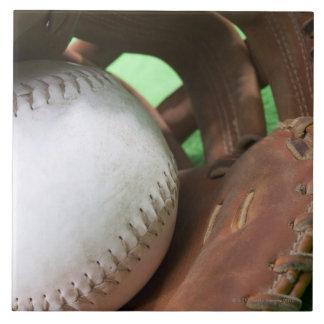 Softball in catcher's glove tile