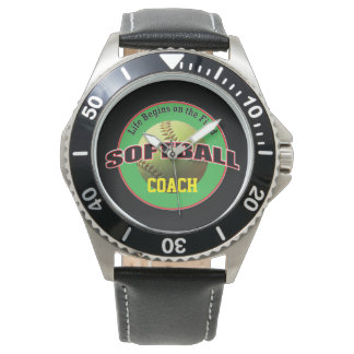 Softball Life on the Field with Name Text Watch