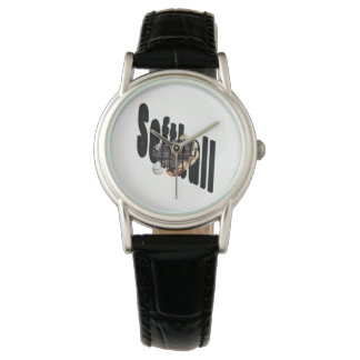Softball Logo And Gloves, Ladies Black Leath Watch