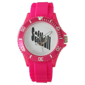 Softball Logo And Gloves, Ladies Pink Sport Watch
