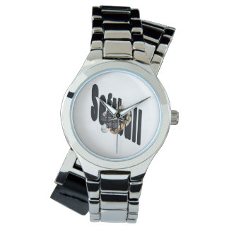 Softball Logo And Gloves, Ladies Silver Wrap Watch