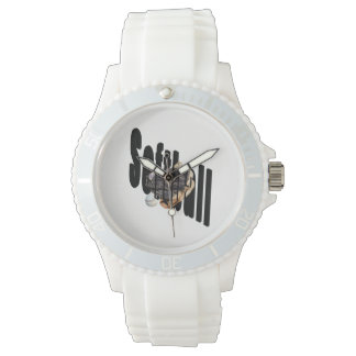 Softball Logo And Gloves, Ladies White Sport Watch