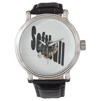 Softball Logo And Gloves, Large Dial Leather Watch