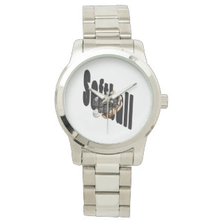 Softball Logo And Gloves, Unisex Silver Watch