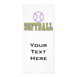 softball logo purple and green rack card template