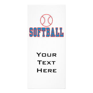 softball logo red and blue full color rack card