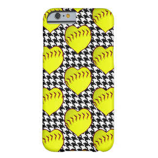 Softball Love Pattern On Houndstooth Barely There iPhone 6 Case