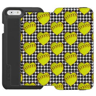 Softball Love Pattern On Houndstooth Incipio Watson™ iPhone 6 Wallet Case