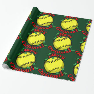 Softball Merry Christmas Wrapping Paper