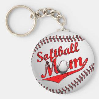 Softball Mom Basic Round Button Key Ring