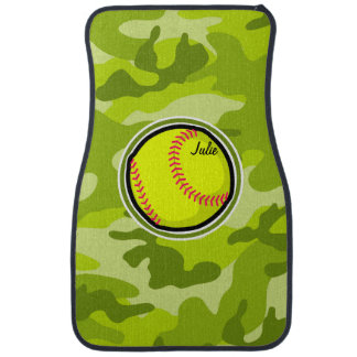 Softball on bright green camo, camouflage car mat