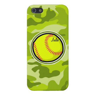 Softball on bright green camo camouflage covers for iPhone 5