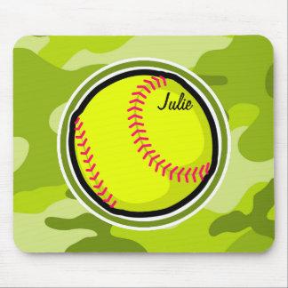 Softball on bright green camo camouflage mousepad