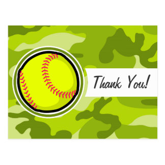 Softball on bright green camo, camouflage post cards