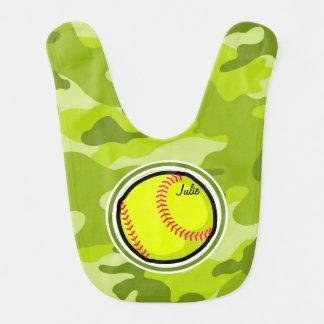 Softball on bright green camo camouflage bib