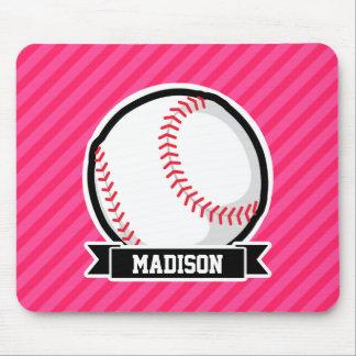 Softball on Pink Stripes Mouse Pad