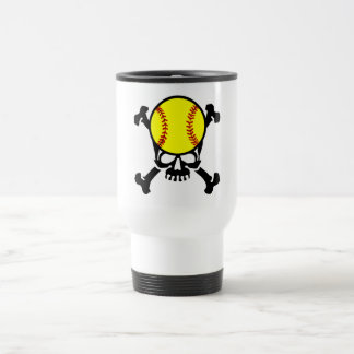 Softball on the brain skull travel mug