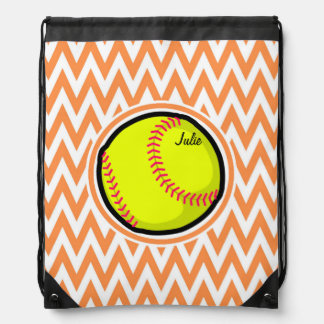 Softball; Orange and White Chevron Drawstring Bag