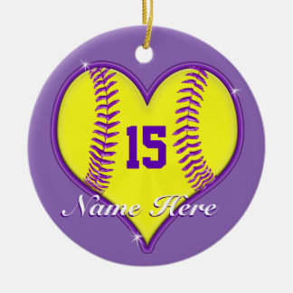 Softball Ornament Your NAME, NUMBER or Delete it