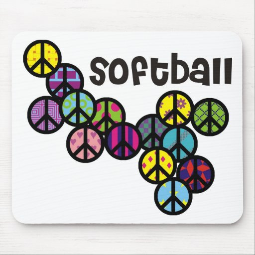 Softball Peace Signs Filled Mouse Pad