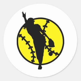 Softball Pitcher Classic Round Sticker