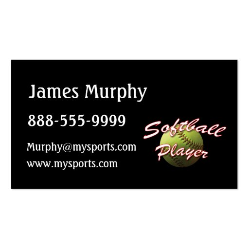 Softball Player Business Card