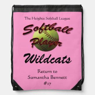 Softball Player Drawstring Bag
