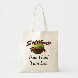 Softball Player Run Hard Turn Left Budget Tote Bag