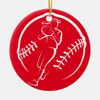 Softball Player Throwing in a Stylized Ball Christmas Ornament
