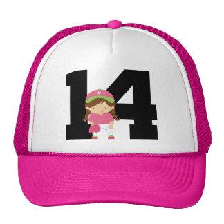 Softball Player Uniform Number 14 (Girls) Gift Cap