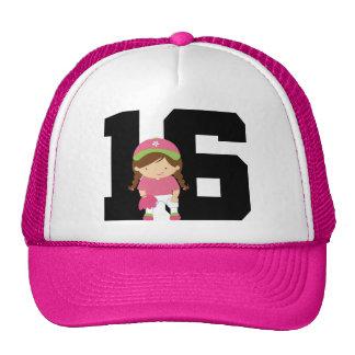 Softball Player Uniform Number 16 (Girls) Gift Cap