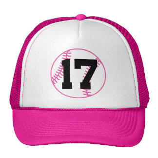 Softball Player Uniform Number 17 Gift Hats