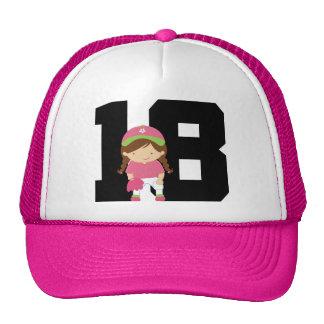 Softball Player Uniform Number 18 (Girls) Gift Cap