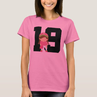 Softball Player Uniform Number 19 (Girls) Gift T-Shirt