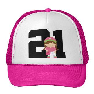 Softball Player Uniform Number 21 (Girls) Gift Cap